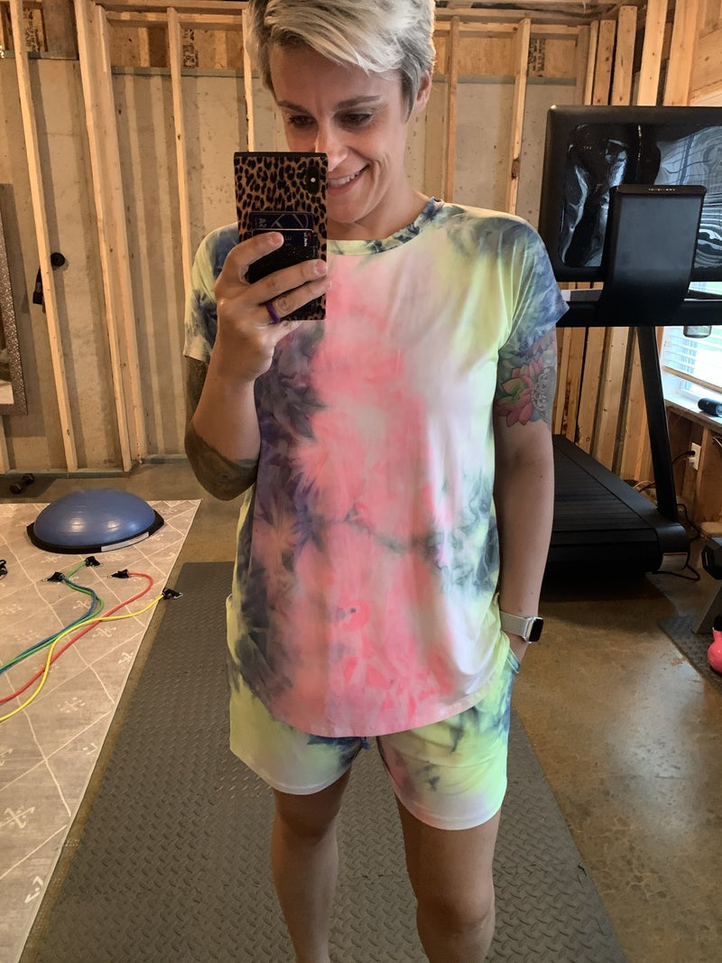 Sew In Love Pastel Tie Dye Top with Twisted V-neck Design in Back & Matching Shorts