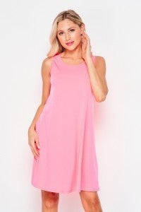 MED ONLY - Neon Pink Sleeveless ITY Swing Dress with Pockets