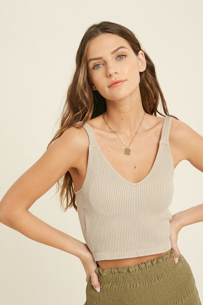 Seamless Ribbed Bralette in Champagne