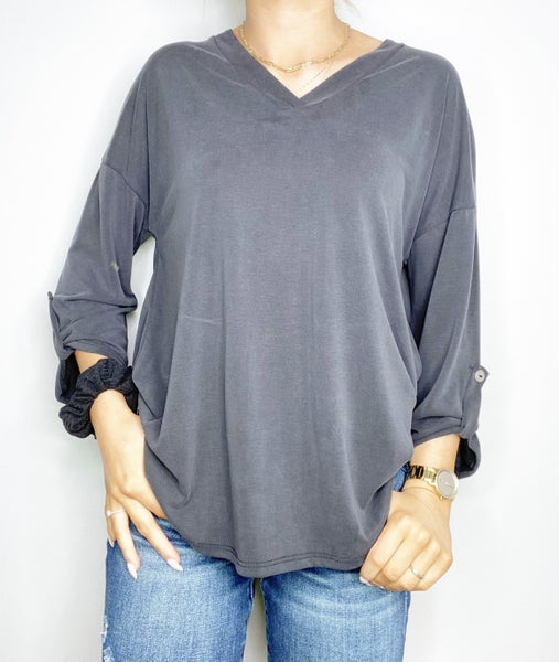 HoneyMe Solid V-Neck Top with Roll Sleeve Button in Black