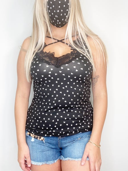 Scallop Lace Tank in Black and Ivory