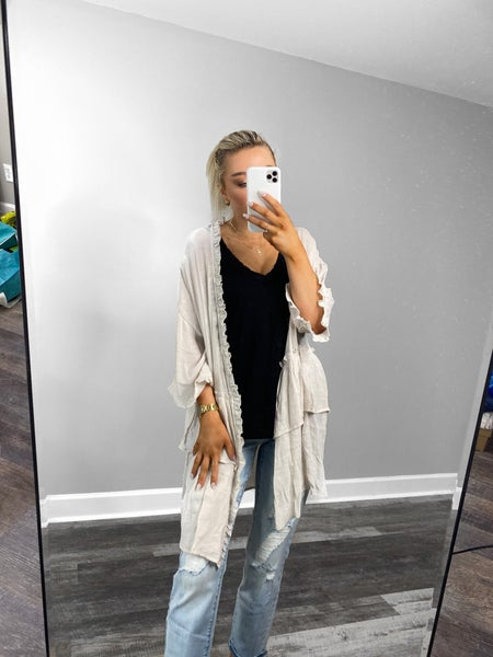! Lightweight & Semi Sheer Ruffled Cardigan-Natural