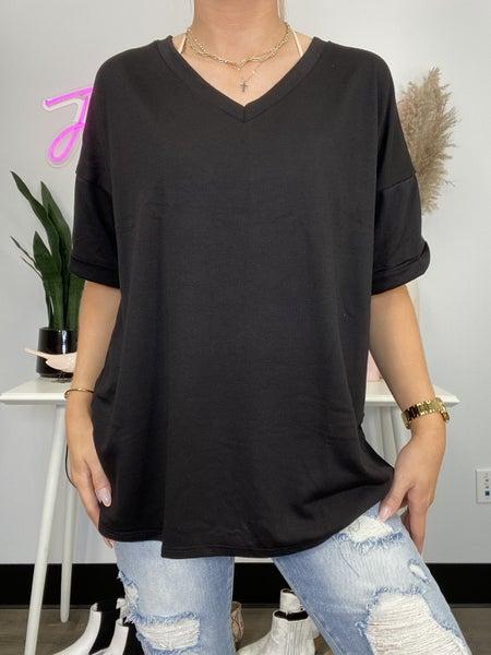 Black V-Neck Short Sleeve Top