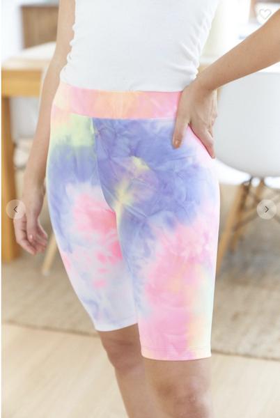 Tie Dye Knit Biker Shorts