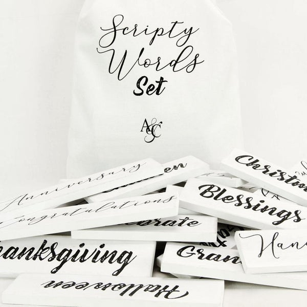 Scripty Word Set in White