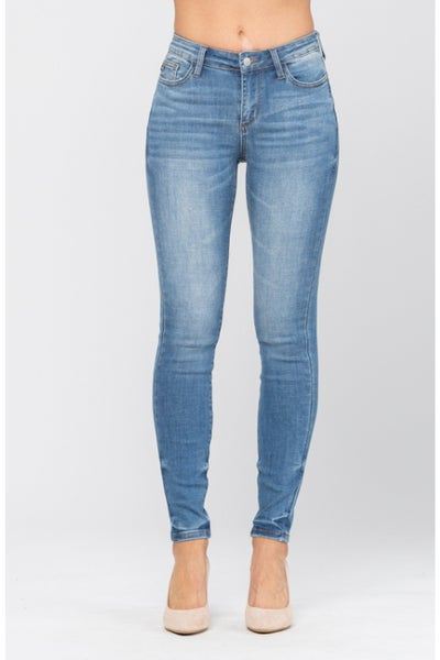 Judy Blue Medium Washed Pin Tacked Non-Distressed Skinny Jeans