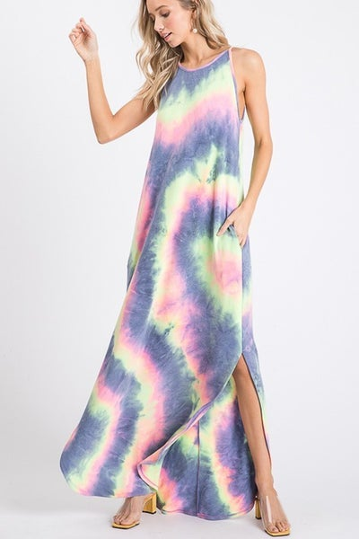 Purple and Lime Tie Dye Maxi Dress
