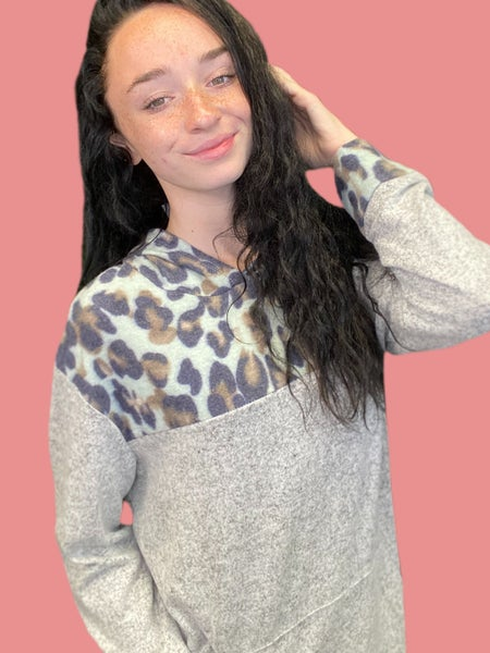SMALL & 2X ONLY - CODE GOTTAGO - Long Sleeve Gray Hoodie with Mint Animal Print Contrast