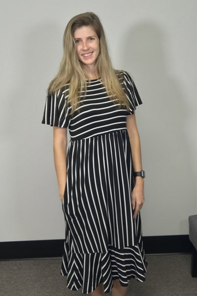 LAST ONE - Stripe Print Midi Dress with Pockets Black