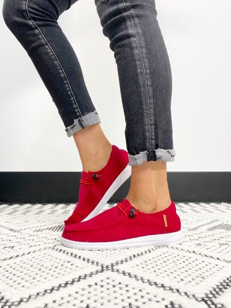 Corkys Kayak Red Corduroy Slip On Sneaker