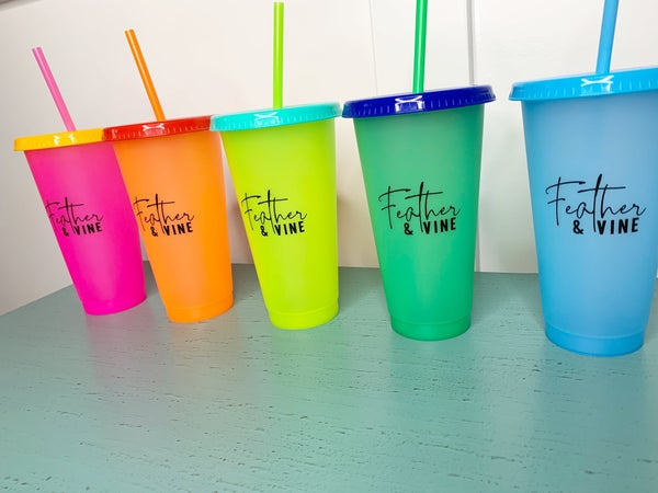 Feather and Vine Color Changing Cups