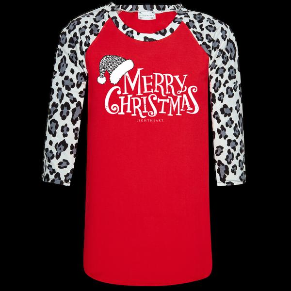 MED ONLY - Snow Leopard Sleeve/Red Merry Christmas Printed Raglan Tee