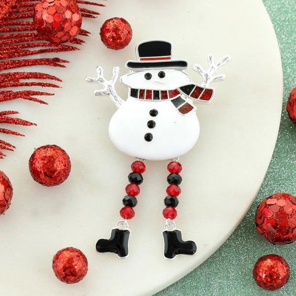 Buffalo Check Dangle Leg Snowman Pin/Pendant
