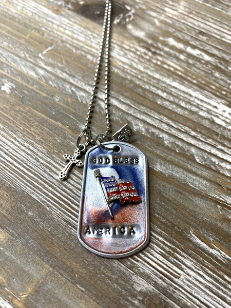 Kate Mesta God Bless America Hand Painted Dog Tags