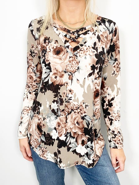 SMALL & 2X ONLY - Taupe and Black Criss Cross V-Neck Top