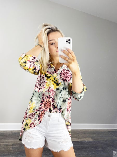 Sage and Mustard Blouse Top