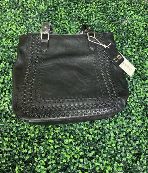 Madison West Black Vegan Leather Handbag