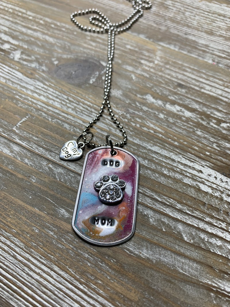 Kate Mesta Dog Mom with Crystal Paw Hand Painted Dog Tags