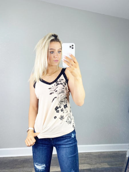 Stone Tank Top with Floral Print and Lace Straps
