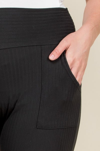 Wide Waist Band Pants in Black