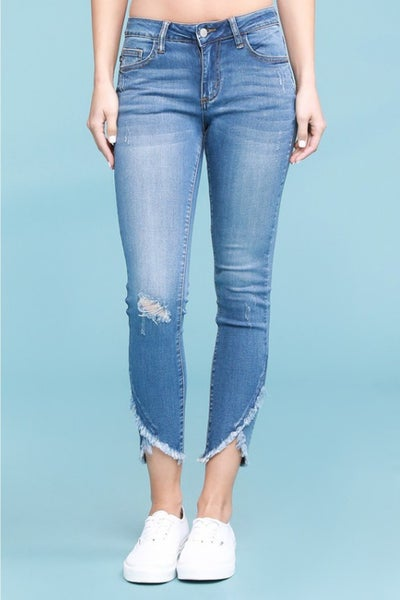 Judy Blue Medium Wash Tulip Hem Skinny Jeans