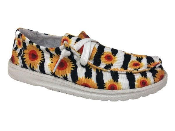 Gypsy Jazz Zebra Sunflower Slip Ons