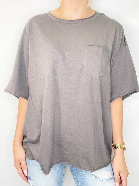 Oversized Crop Knit Top in Ash