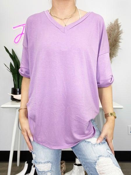 Lilac V-Neck Short Sleeve Top