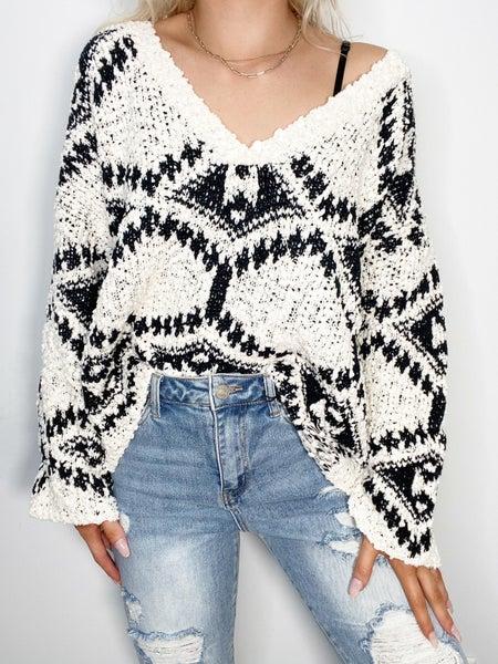 Cream & Black Aztec Sweater