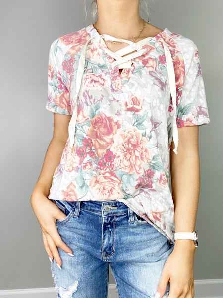 Sage Floral Top with Twill Tape Detail