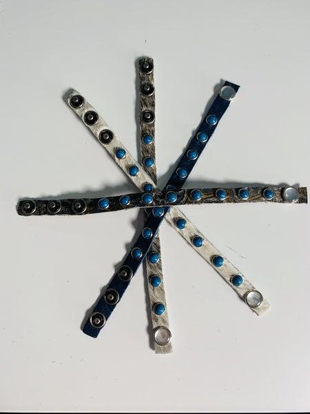 Custom Made Leather Single Bracelet with Rhinestone
