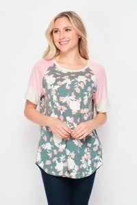 Floral Short Sleeve Raglan with Striped Detailing