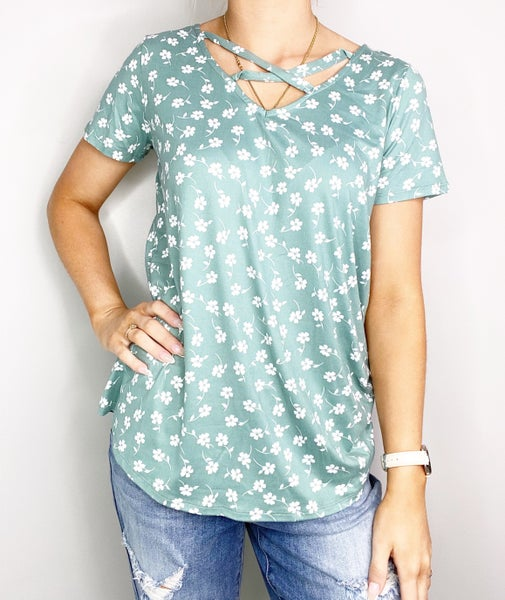 Sage V-Neck Top with Flowers