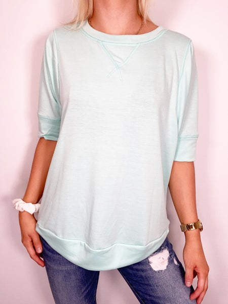 SMALL ONLY - Mint Banded Sleeve Top