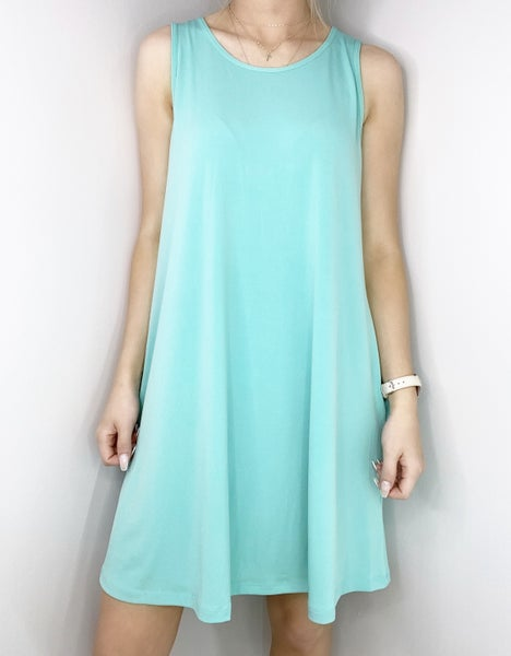 SMALLS ONLY - Mint Sleeveless ITY Swing Dress with Pockets