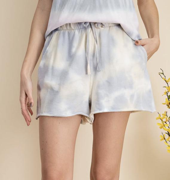 Summer Tie Dye Shorts in Sage Blue