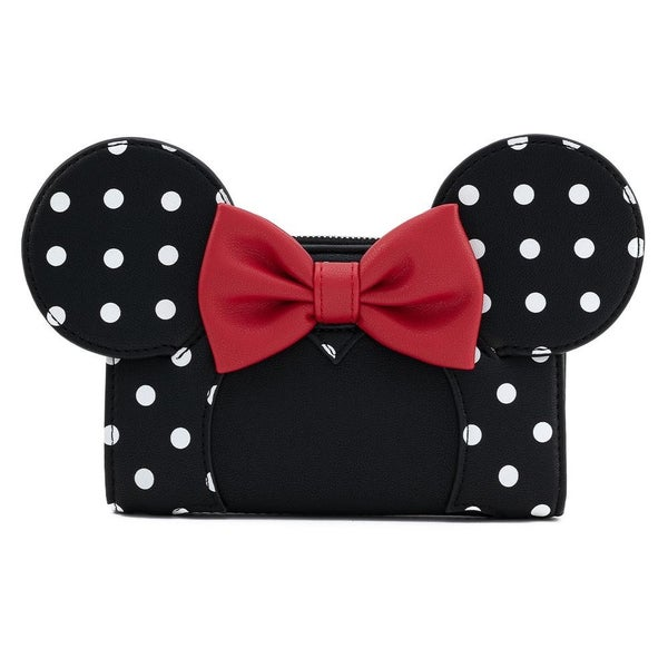 LOUNGEFLY X DISNEY MINNIE MOUSE BLK/WHT POLKA DOT COSPLAY FLAP WALLET