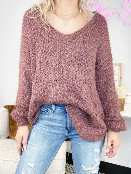 Vneck Sweater in Mauve or Honey Gold