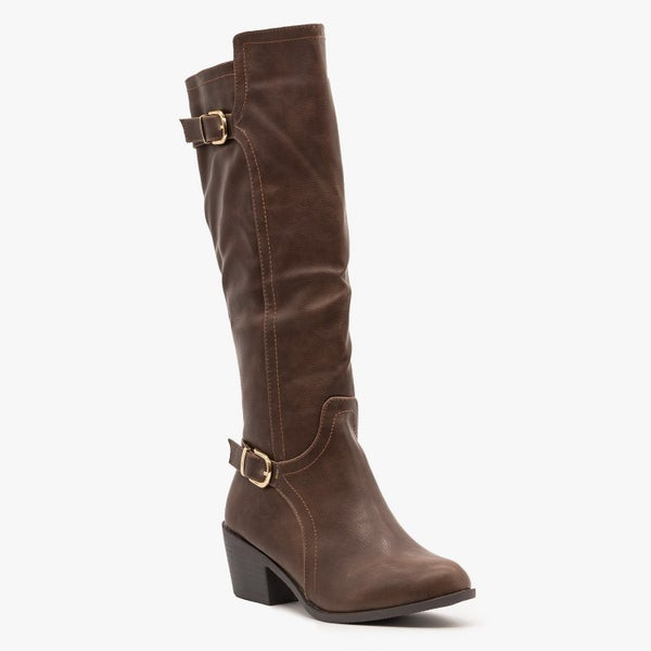 ONLY 2 PAIR LEFT! - Fashion Focus Brown Buckled Boots