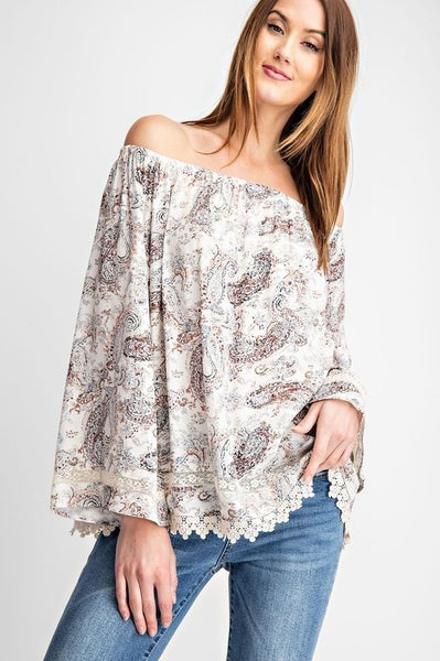 Paisley Printed Off Shoulder Blouse Top