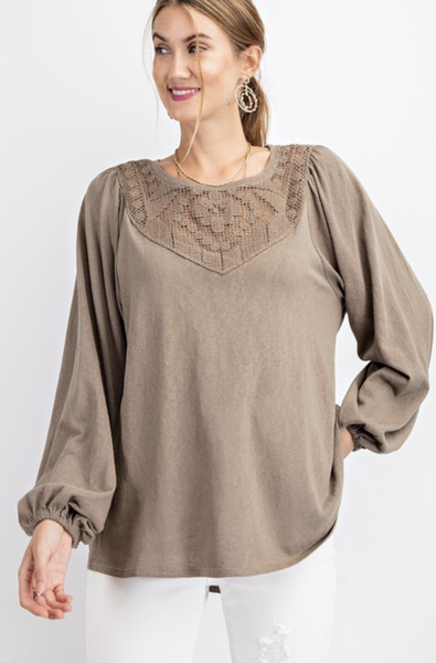 LS COTTON JERSEY CROCHET PATCH DETAILING KNIT TOP in CINNAMON or OLIVE