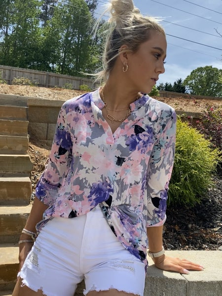 Gray and Purple Floral Gabby