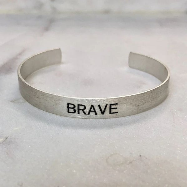 Choose Your Word - Brushed Copper Cuff {SILVER - BRAVE}