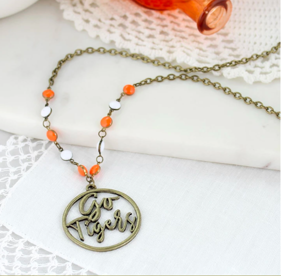"""34"""" Clemson Vintage Style Cutout Slogan Necklace"""