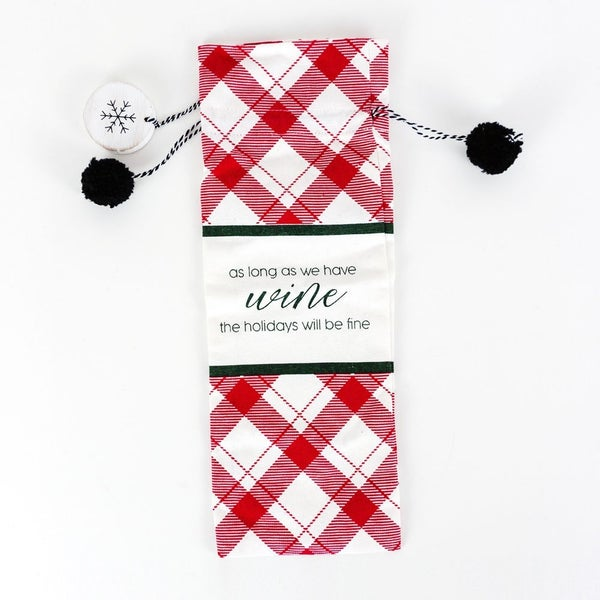 As Long as We Have Wine Linen Wine Bag
