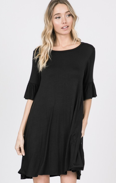 RUFFLED HALF SLEEVE SOLID DRESS WITH SIDE POCKET in BLACK