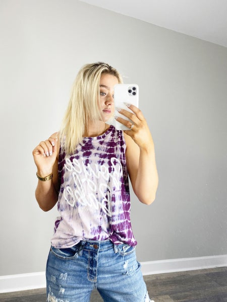LARGE &  XL ONLY-Boujee Babe Purple Tie Dye Graphic Tank