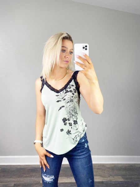 Sage Tank Top with Floral Print and Lace Straps