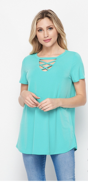 SM & MED ONLY HoneyMe-Mint ITY Criss-Cross Top