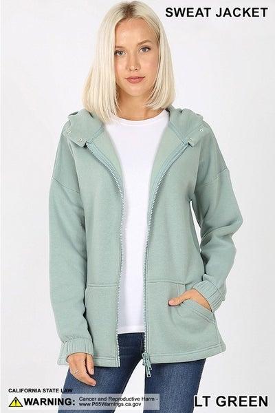 2-Way Zipper Hoodie Sweatshirt Jacket with Kangaroo Pocket in Plus ***MULTIPLE COLORS***